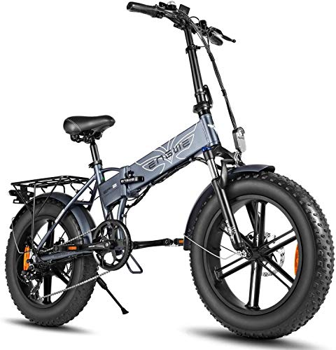 ENGWE 750W Bici Elettriche da 20 Pollici Mountain Beach Snow Bike per Adulti Scooter Elettrico in Alluminio A 7 velocità E-Bike con Ricarica Batteria al Litio 48V12.8A (Grigio)