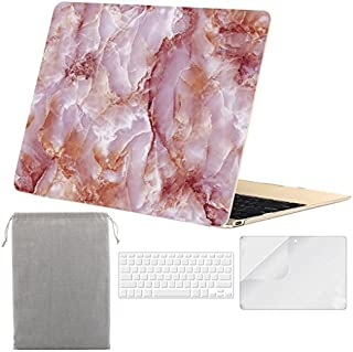 Sykiila for MacBook 12 inch Case Hard Cover 4 in 1 Folio Case & HD Screen Protector & TPU Keyboard Cover & Sleeve for 12 with Retina Display Model A1534 - Pink Marble