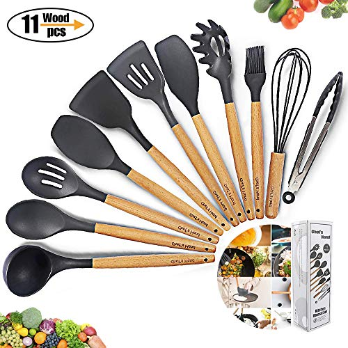 Kitchen Utensil Set Silicone Cooking Utensils 11Piece - Cooking Utensils Set with Bamboo Wood...