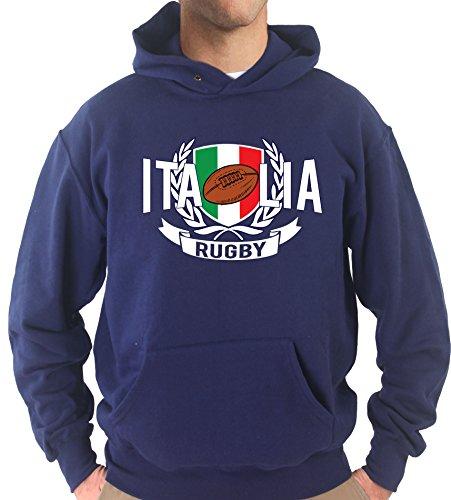 Settantallora - Felpa con Cappuccio KJ1663 Stemma Tricolore Italia Rugby Taglia L