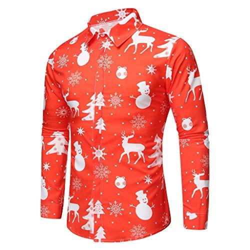 Camisa Navidad Liquidación Camisas Hombre de Manga Larga Casual Shirts Moda Ropa Hombres Corte Slim Camisa de Solapa Printed Blusa Impresión Tops Yvelands(Rojo,XL)