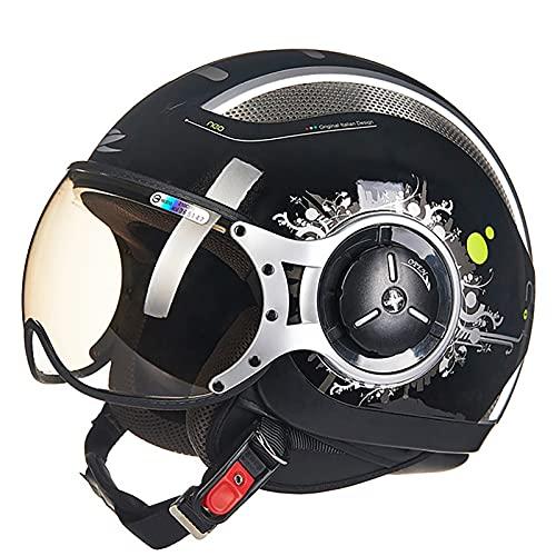 Medio Casco Retro de Cara Abierta,3/4 Casco Moto Jet ECE Homologado Casco Moto Abierto Scooter para Mujer Hombre Adultos con Visera Unisex Cruiser Chopper Jet Casco D,XL=59~60cm