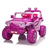 TOBBI 12v Kids Ride On Truck with Remote Control, Battery Powered Ride on Toy Car w/ Music, MP3, Safety Belt, Pink and Purple