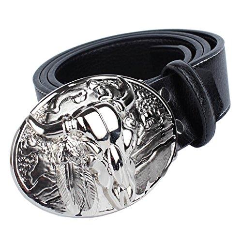Gazechimp Cinturón de Cuero de Fibra con Hebilla de Estilo Vaquero Occidental Accesorios de Moda para Hombre - Cinturón de Color Negro, Hebilla de Patrón Toro