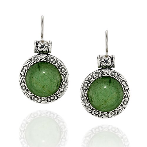 Antique Style Round Green Aventurine Gemstone Earrings with Ornate Floral Design and Secure Backs
