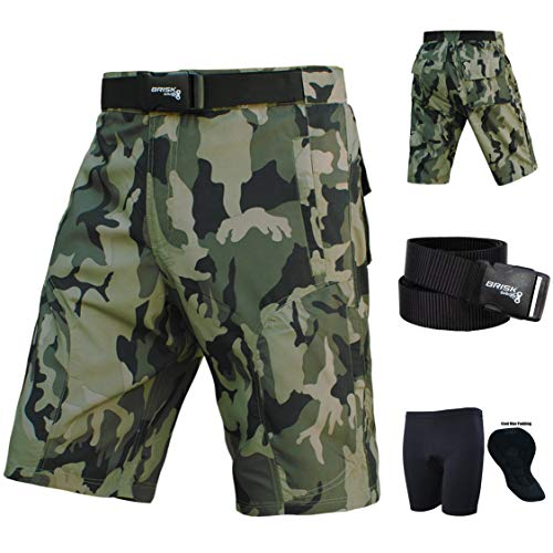 Brisk MTB Shorts, Coolamax Gepolsterte, herausnehmbare Innenfutter, Free Style Erwachsene Größe (Camo Brown Black, S)