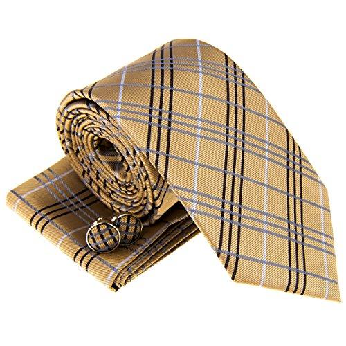 Tartan Plaid Check Styles corbata tejida para hombre con bolsillo cuadrado y gemelos regalo