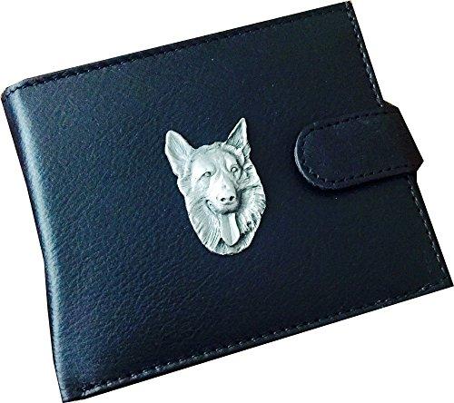 Antieke tinnen Duitse herder hond embleem op een echte koe verbergen lederen geld portemonnee visitekaartje en credit card houder cadeau