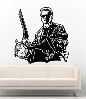 Famous Persons Vinyl Wall Decals Arnold Schwarzenegger Terminator on Motorcycle Removable Decor Stickers Vinyl Murals MK2042