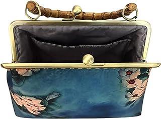 Lurrose Vintage Abend Kupplungen Handtaschen mit Holzgriff Traditionellen Chinesischen Stil Formale Partei Blume Brieftasc...