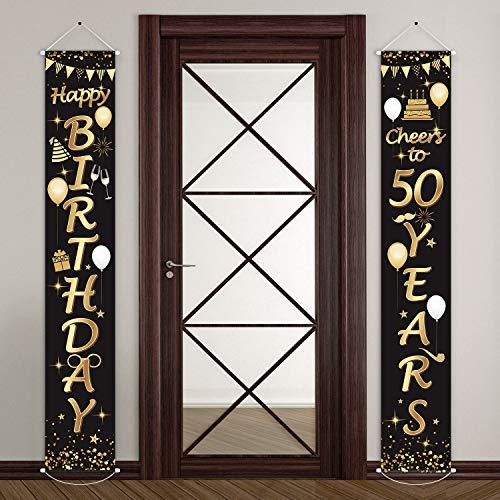 2 Stücke 50. Geburtstag Party Dekorationen Prost auf 50 Jahre Banner 50. Party Dekorationen Willkommen Veranda Zeichen für 50 Jahre Geburtstag Lieferung (50 Jahre Geburtstag)