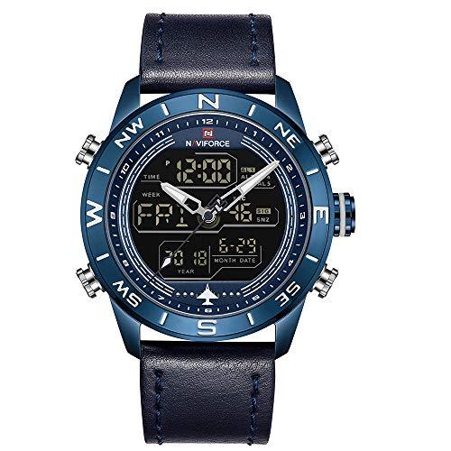 NAVIFORCE - Reloj deportivo digital para hombre (piel, cuarzo, con caja de regalo)