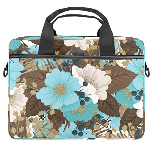 Lightweight 15 Inch Laptop Bag Business Messenger Briefcases Waterproof Computer Tablet Shoulder Bag Carrying Case Handbag for Men and Women Mint Green White Flower Coffee Leaves