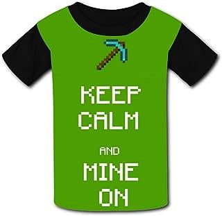 QIANBAIHUI Kids Youth Keep Calm and Mine On 3D Printed Short Sleeve T-Shirt Tees
