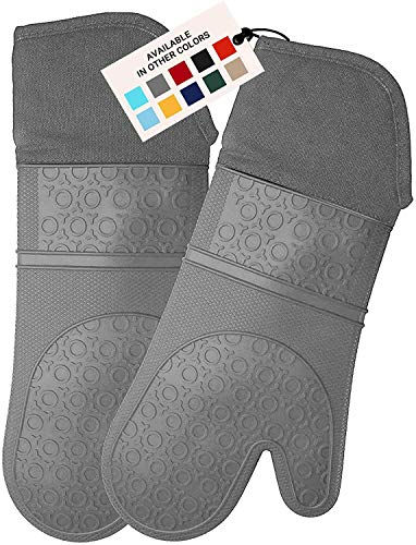HOMWE Extra Long Professional Silicone Oven Mitt, Oven Mitts with Quilted Liner, Heat Resistant Pot Holders, Flexible Oven Gloves, Gray, 1 Pair, 14.7 Inch