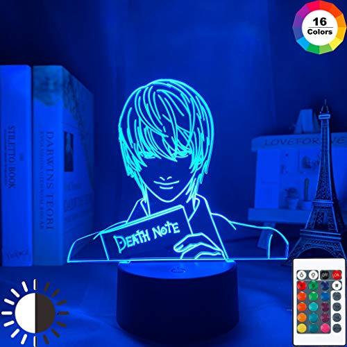 Yagami Figure Acrilico Anime Death Note Kid Night Light Lampada da tavolo a LED 3D per bambini Regalo di compleanno Decorazione da comodino