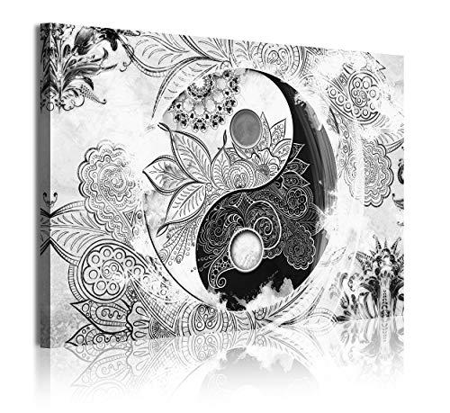 DekoArte 366 - Cuadros Modernos Impresión de Imagen Artística Digitalizada | Lienzo Decorativo Para Tu Salón o Dormitorio | Estilo Ying Yang Abstractos Zen Colores Blanco Negro | 1 Pieza 120 x 80 cm