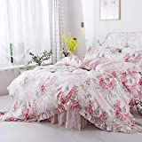 FADFAY Duvet Cover Set Queen Elegant and Shabby Pink Rosette Floral Bedding with...