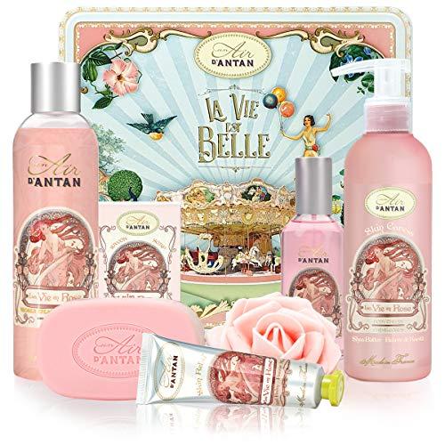 Beauty Box Set ROSE 5 Produkte Un Air d\'Antan: 1 Duschgel 250ml, 1 Handcreme 25ml, 1 Seife 100g, 1 Körperlotion 200ml, 1 Eau de Toilette 55m / Parfüm: Rosa, Pfirsich/Muttertag/Geburtstagsgeschenk