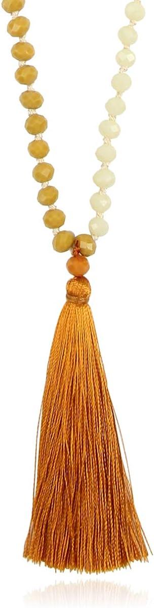 Bohemian Tassel Pendant Beaded Long Statement Necklace - Sparkly Crystal Bead Boho Teardrop, Natural Stone, Silky Thread Fringe