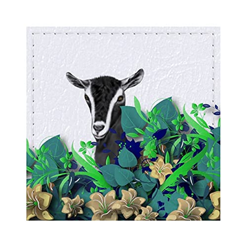 Dessous de verre carrés en cuir pour boissons alpines, produits laitiers, chèvre, prénom de chèvre, dessous de verre pour café, bière, thé, vin, maison, bureau, cuisine, bar, 9,9 cm