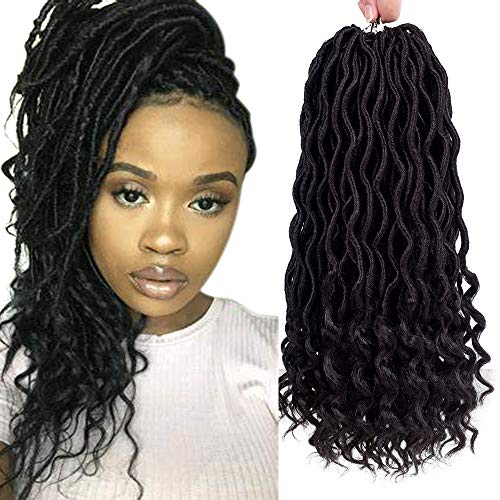Befunny 6Packs/Lot 14' Goddess Locs Crochet Hair Short Faux Locs Crochet Braids Hair With Curly Ends Wavy Synthetic Prelooped Crochet Twist Hair Extensions For Women Black Color (14inch,1B#)