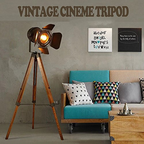 Decoluce Vintage Tripod Floor Lamp,Nautical Teatre Retro Spotlight,Industrial Decor Wooden Light Fixtures,Cinema Movie Props-Without Edison Bulb