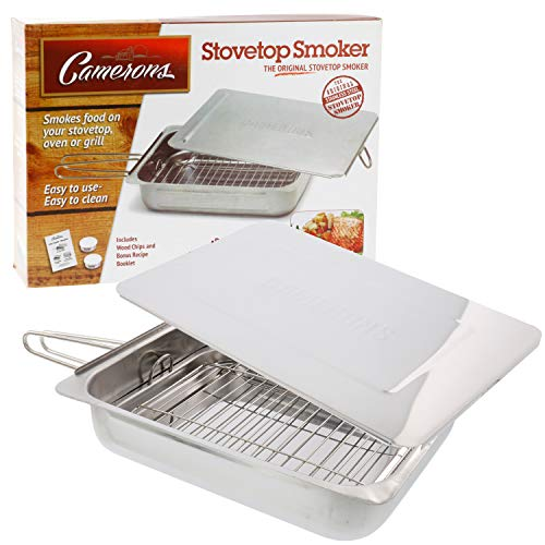 Camerons Large Stovetop Smoker w Wood Chips and Recipes - 11' x 15' x 3.5' Stainless Steel Smoker