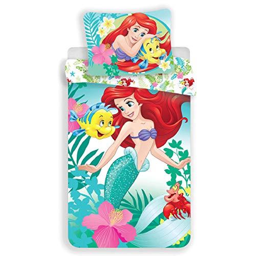 Disney - Ariel la piccola sirena, parure da letto con copripiumino in cotone da 1 piazza