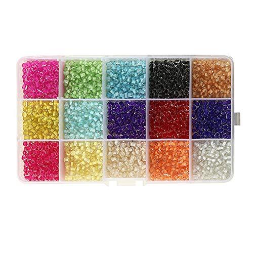 TOOGOO Cuentas de Semillas de Vidrio Multicolor de 3 Mm para Pulseras de Bricolaje, Collares, Llaveros y Joya para Ni?Os, Transparente