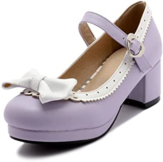 c519c5f96f2 ELFY Women s Cute Lolita Cosplay Shoes Bow Mid Chunky Heel Mary Jane Pumps