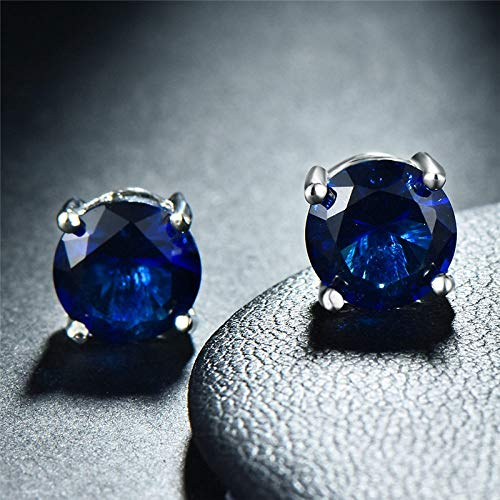 HUYV Stud Earrings For Woman,Fashion Blue Crystal Round Earrings 925 Silver Stud Earrings For Christmas Birthday Jewelry Gift Men Girls