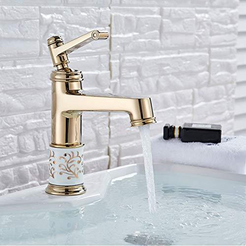YHSGY Waschtischarmaturen Waschbecken Messing Wasserhahn Heiß Kaltmischer Wasserhahn Bad Kran Deck Mount Chrom Gebürstet Gold Farbe