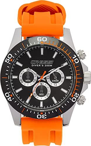 Cressi Nereus Watch Reloj Cronógrafo Submarino Profesional 200 m / 20 ATM, Unisex-Adult, Negro/Naranja, Un tamaño