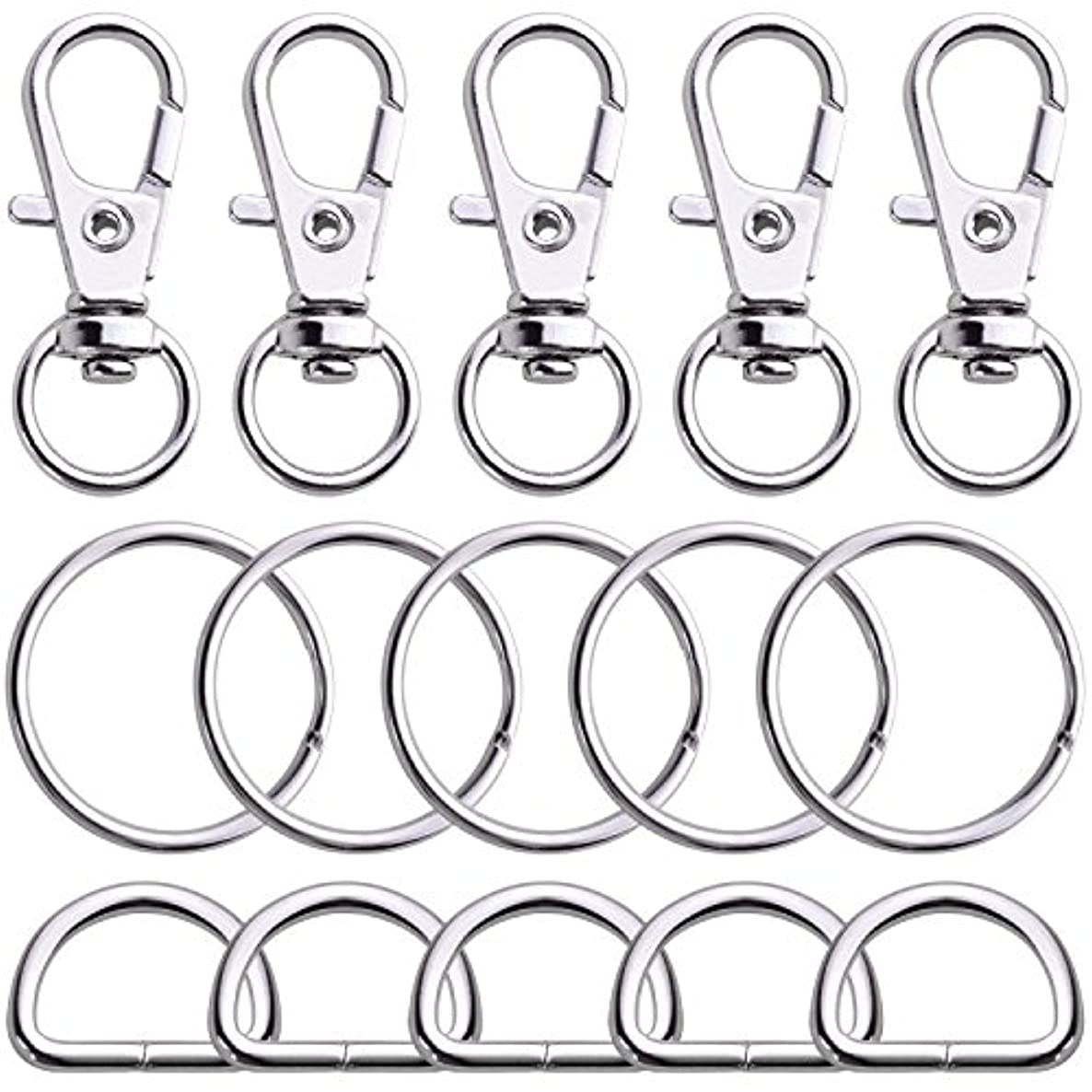 BronaGrand 100PCS Swivel Snap Lobster Clasps Keychain Hooks 20 Pieces with Key Rings 40 Pieces and D Rings 40pcs (Small Size)