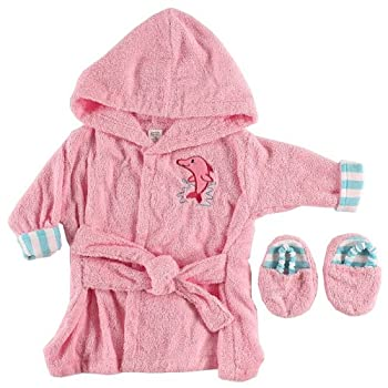 Luvable Friends Unisex Baby Cotton Terry Bathrobe Pink One Size