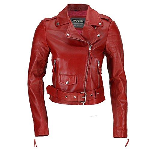 Xposed - Chaqueta para mujer (100% piel suave, ajustada, estilo retro, color marrón y rojo