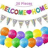 Set de Decoración Welcome Home de 26 Piezas Incluye 24 Globos Tropical Welcome Home, Banner Brillante Welcome Home y 12 Banderas de Banderines para Decoración de Hogar Suministros de Fiesta Familiar