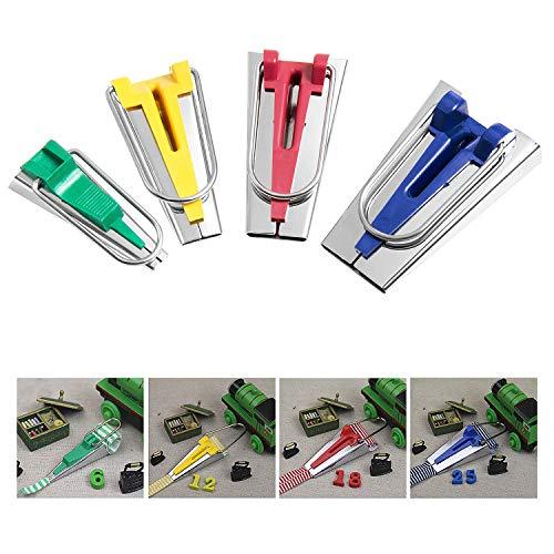Diealles Shine Clips para Coser Cinta de Bies 4 Piezas Set 25mm 18mm 12mm 6mm diferentes tamaños para hacer ancho.