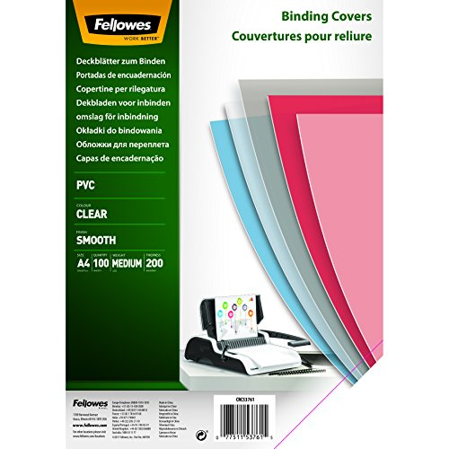 Fellowes - 5376102 - Couvertures de reliure PVC transparent A4 en PVC 200 microns - Pack de 100