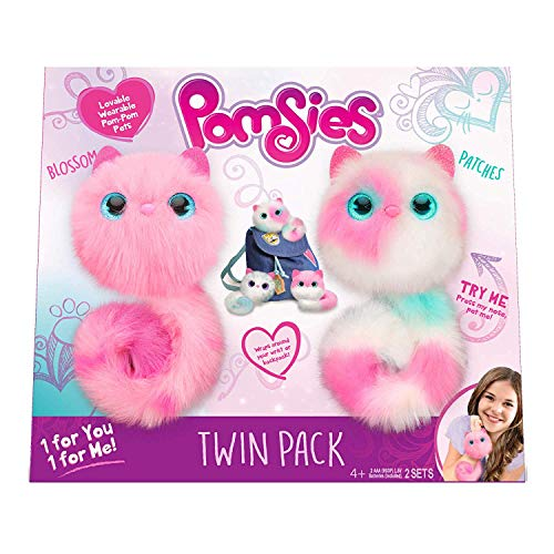 Pomsies Twin Pack Plush Interactive Toys, Blossom and Patches