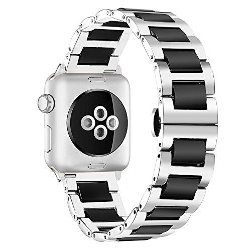 BINLUN Herren Edelstahl und Keramik Uhrenarmbänder Kompatibel für Apple 38mm / 42mm Smartwatch Series 3,2,1,Sport Edition (Silber-schwarz) BL0002B-ASB42