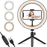 """LEAPCOVER 10"""" Ring Light LED Desktop Selfie Ring Light USB LED Desk Camera Ringlight 3 Colors Light with Tripod Stand"""