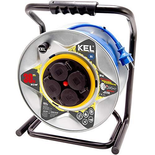 KEL-ELECTRIC - Tambor de cable metálico con 30 m de cable blindado...