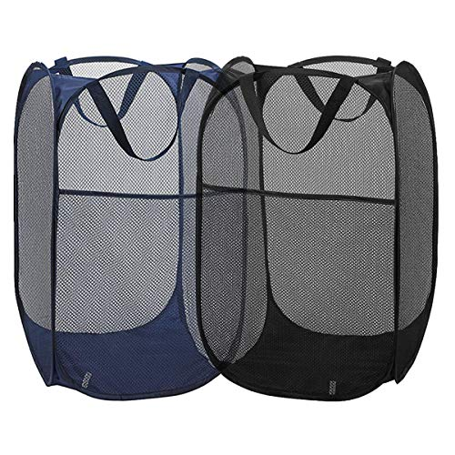 2 Packs Mesh Pop up Laundry Hamper Black Navy Blue with Portable Durable Handles Collapsible for Storage Folding Pop-Up Clothes Hampers for Kids Room College Dorm or Travel