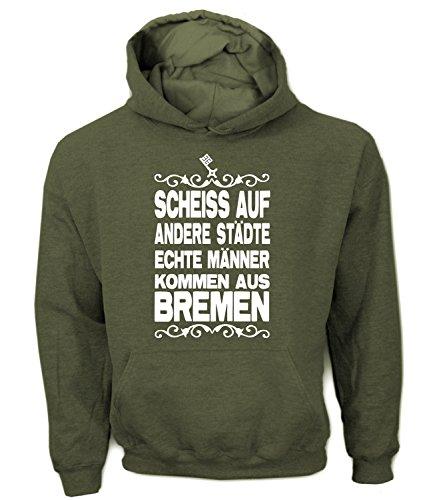 Artdiktat Herren Hoodie - Scheiß auf andere Städte - Echte Männer kommen aus Bremen Größe XXL, khaki