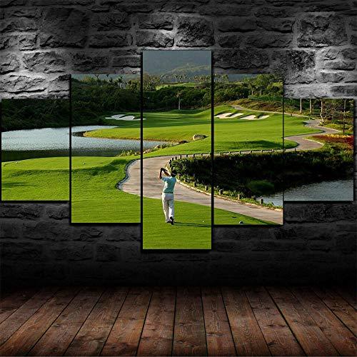 Cuadro en Lienzo 5 Piezas Impresión Golf Campo De Golf Naturaleza Tropical XXL Impresión Artística 5 Piezas Lienzo de Tejido no Tejido Estampado Decoración de Pared Aislamiento