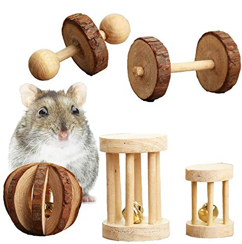 Juguete para Masticar hámster,Juego de 5 Masticar de Juguetes para Animales Pequeños Juguetes Conejos,Mancuernas de Ejercicio,Cuidado de Los Dientes Molares de Conejos,Jerbos,Natural Molar Branches