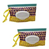 boîte de Lingettes Humides, Boîte de Rangement de Lingettes Humides, 2 Pochette de Voyage pour Lingettes Humides, Réutilisable, Rechargeable, Boîte Portative, Distributeur de Lingettes de Voyage