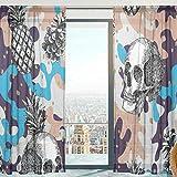 Mnsruu Ananas Vorhang transparent Gardine 2 Stücke Gaze paarig schals Fensterschal Vorhänge für Wohnzimmer Schlafzimmer 213 cm x 140 cm(H x B) 2er-Set
